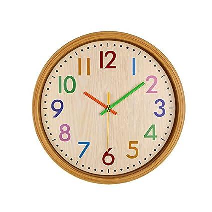 Xuanhome Reloj de Pared Reloj de Cuarzo Número de Color Movimiento silencioso Decoración Creativa Cocina en