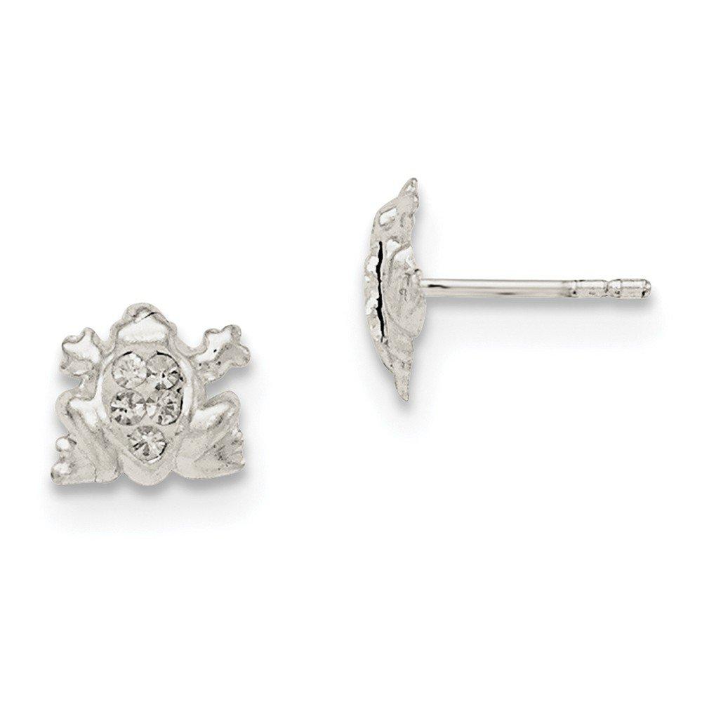 Madi K Sterling Silver Crystal Frog Post Earrings