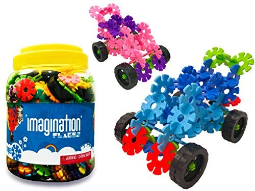 BUILD A BRAIN Imagination Flakes 500 Piece Interlocking Plastic Disc Set with Wheels Kit: Alternative Building Toys to Blocks Set; Kids Snowflake STEM Toys; Boys and Girls Educational, Connecting Toys
