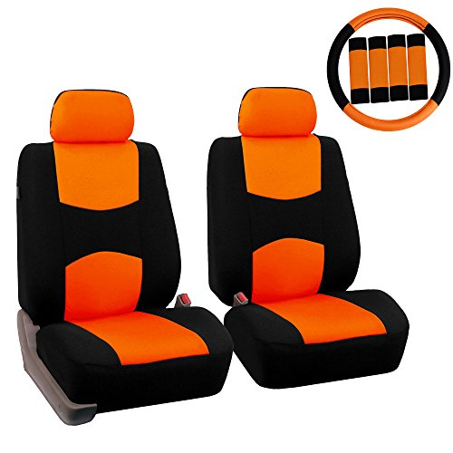 (FH GROUP FH-FB050102 Pair Set Flat Cloth Car Seat Covers W. FH2033 Steering Wheel Cover & Seat Belt Pads, Orange / Black- Fit Most Car, Truck, Suv, or Van)