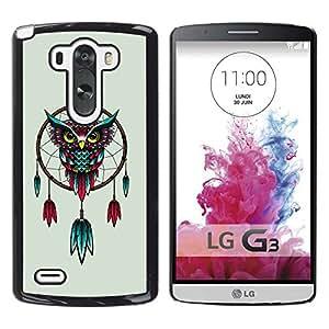 Qstar Arte & diseño plástico duro Fundas Cover Cubre Hard Case Cover para LG G3 D855 D850 D851 ( Dream Catcher Owl Art Turquoise Red Drawing)