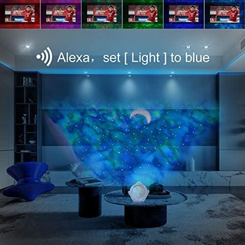 LED Projektor Sternenhimmel Lampe, WIFI Sternenhimmel Projektor Lampe mit Fernbedienung, Sternenhimmel/Mond/Wasserwellen Welleneffekt LED Projektionslampe für Zuhause, Party, Weihnachten, Halloween
