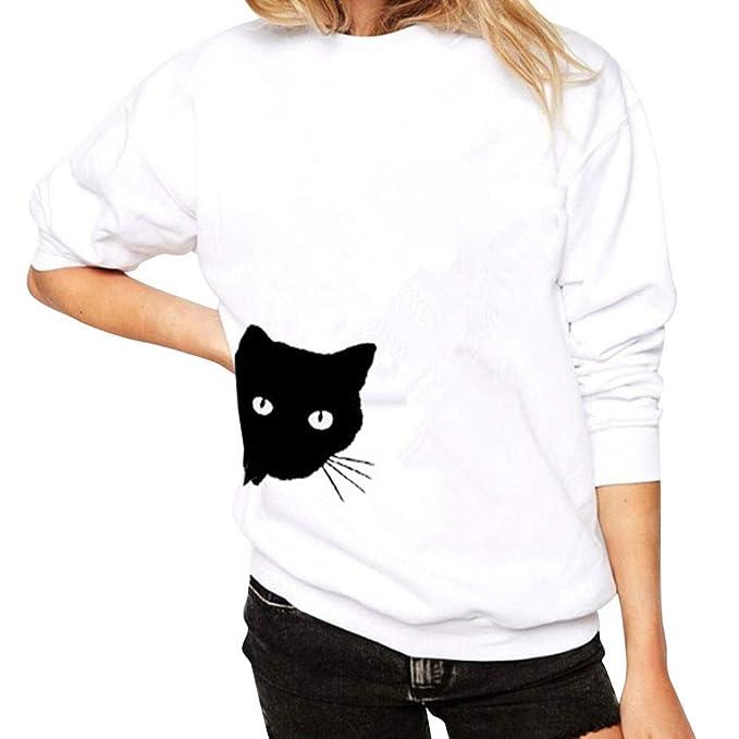 Sudadera para Mujer, Mujer Casual Manga Larga Impresión de Gato Camisetas Suéter Blusa Túnica Sudadera Jersey Tops Manga Larga Otoño Invierno Hooded ...