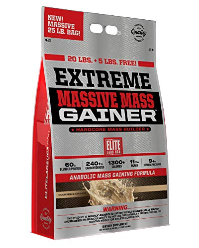 Elite Labs USA Extreme Massive Mass Gainer 25 Pound, Cookies and Cream by Elite Labs USA (Image #2)
