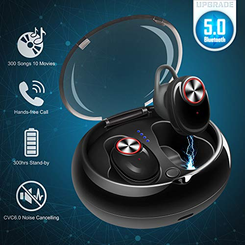 Mini Wireless Bluetooth Earbuds Invisible Noise Cancelling Headphone in-Ear Business Earphone Stereo Sports Car Headset with Mic Smallest Earpiece Magnetic Charger Case