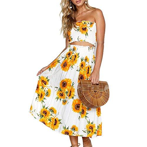 YISHIWEI Womens Sunflower Floral Crop Top Maxi Skirt Set 2 Piece Outfit Dress