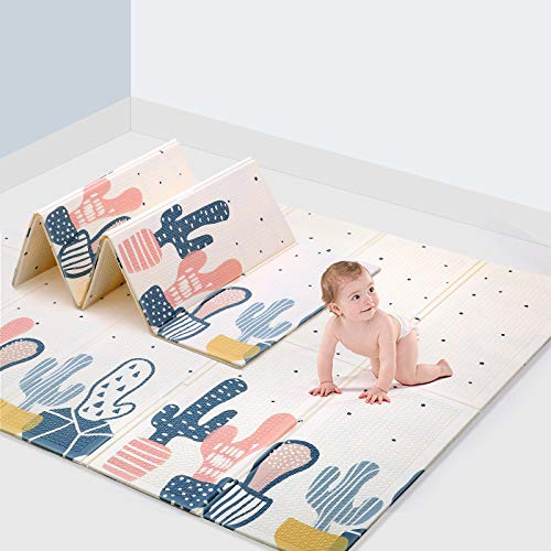 DalosDream Baby Folding mat Play mat Extra Large Foam playmat Crawl mat Reversible Waterproof Portable Double Sides Kids Baby Toddler Outdoor or Indoor Use Non Toxic (79 x 71 x 0.4 Inch)