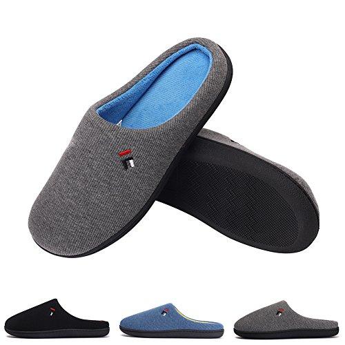 - Mens Washable Lightweight Slippers Memory Foam Fleece Lining Anti Slip House Shoes Sole, Indoor/Outdoor Dark Gray-XL