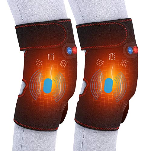 - Heated Massage Knee Brace for Men and Women, Adjustable Heated and Massage Knee Heating Pad Thermal Heat Therapy Wrap Hot Compress for Cramps Arthritis Pain Relief Injury Recovery (1 Pair)