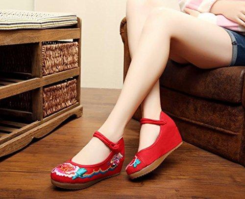 Scarpe Suola Del Biancheria Moda Femminili Comodo Casual Tendine Ming Ricamate Red Stile Etnico Aumento A6dwqRw