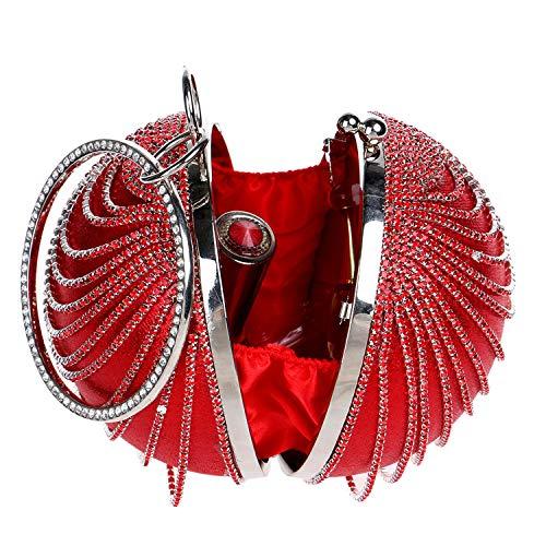 incrusté Rouge Diagonal annuelle Fashion 10x5x5inch fériés de d'Anniversaire Diamants soirée Parti Fête Jours de de Réunion B Embrayage Femmes d'autres l'épaule Sphériques de Sac 25x12x12cm w0E6Sqx8q