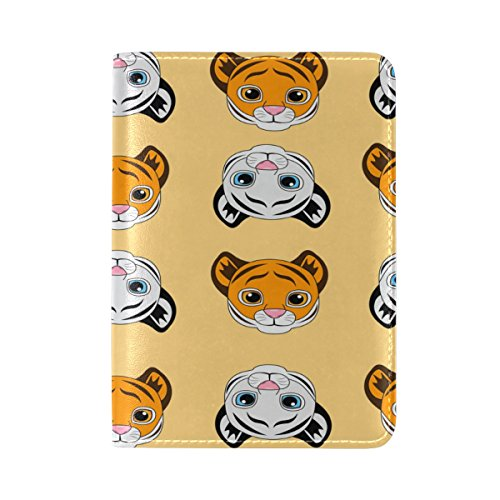 Small Tigers Leather Passport Cover Travel Passport Holder Cover Case by Yuihome