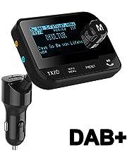 Blufree [Aggiornato]In Car DAB/DAB+ Adattatore per autoradio, radio digitale DAB con trasmettitore FM Kit per auto Bluetooth+lettore di schede 64G TF+AUX Out+Caricatore per auto USB+Antenna esterna 3M