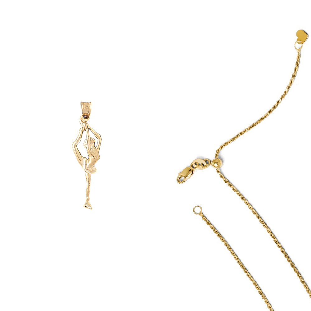 14K Yellow Gold Gymnast Pendant on an Adjustable 14K Yellow Gold Chain Necklace