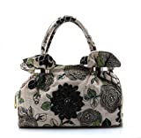 Women Handmade Classic Beaded Top Handle Tote Handbag Satchel Shoulder Hobo Bag Purse Black, Bags Central