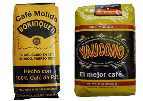 Puerto Rican Variety Pack Ground Coffee - 2 Local Favorites Yaucono, Borinquen (1 Pack)