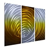Pure Art Vortex in Gold - Abstract Metal Wall Art Decor -Modern Hanging Sculpture of 3-Panel - Small Design Decoration of 32'' x 24''