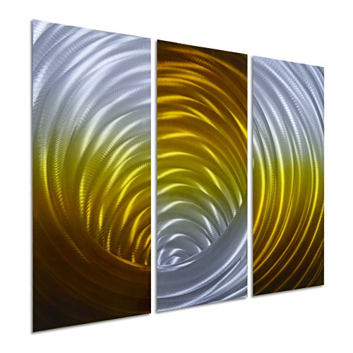 Pure Art Vortex in Gold - Abstract Metal Wall Art Decor -Modern Hanging Sculpture of 3-Panel - Small Design Decoration of 32'' x 24'' by Pure Art