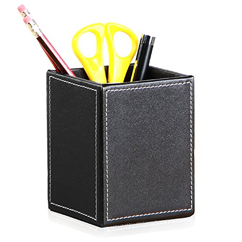 Holder PU Leather Desk Organizer Office Desk Accessories Container Box (Black) (Black Faux Leather Desk)