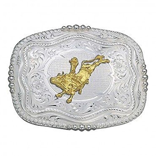 Montana Silversmiths 6508-160 Rounded Square Silver Gold Bull Rider Belt (Rounded Square Buckle Belt)