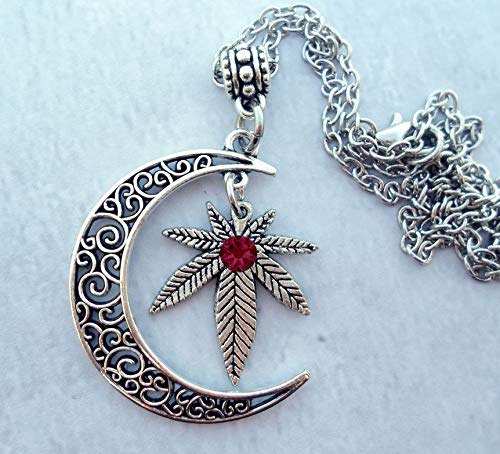 Filigree Crescent Moon Necklace with Marijuana Leaf & Sparkling Ruby Swarovski Crystal, Hemp, Pot, Cannabis, 420, Mary Jane, July Birthstone * Hand-crafted with lOve!
