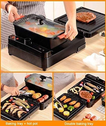 AZHom Cuiseur à riz 3-en-1 barbecue hot pot pliage machine de barbecue coréen multifonctionnel multifonctionnel hot pot électrique, 67 * 29 * 10cm