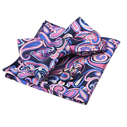 - Alizeal Mens Floral Paisley Pre-tied Bow Tie, Hanky and Cufflinks Set, Royal Blue+Pink+White