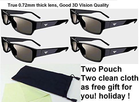 新しい3dシアター3dガラス–パックof 4(フリーギフト2つポーチ+ 2つクリーニングclotth) Fit For Vizio m3d421sr m3d420sr m3d460sr m3d550sr e3d320vx e3d420vx 3dテレビVizioパッシブタイプ3dテレビ
