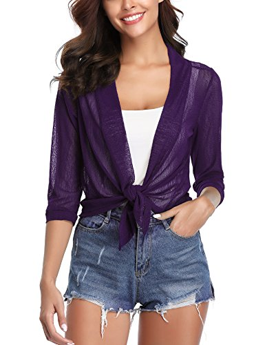iClosam Womens Tie Front 3/4 Sleeve Sheer Shrug Cropped Bolero Cardigan (Purple, Small)