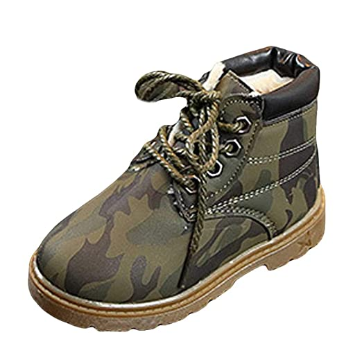 6a558aed5bf47 Goldweather Kids Toddler Girls Boys Martin Boots Camouflage Plush Winter  Warm Non-Slip lace-
