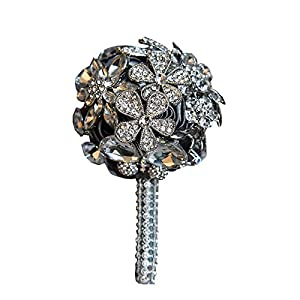 Abbie Home Handmade Luxury Sparkle Rhinestone Decorated Boutonniere for Men on Wedding Prom Party Satin Rose Brooch Pins (Grey) 70