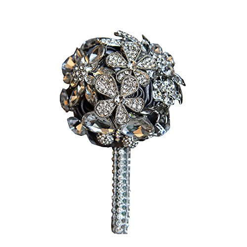Abbie Home Handmade Luxury Sparkle Rhinestone Decorated Boutonniere for Men on Wedding Prom Party Satin Rose Brooch Pins (Grey)
