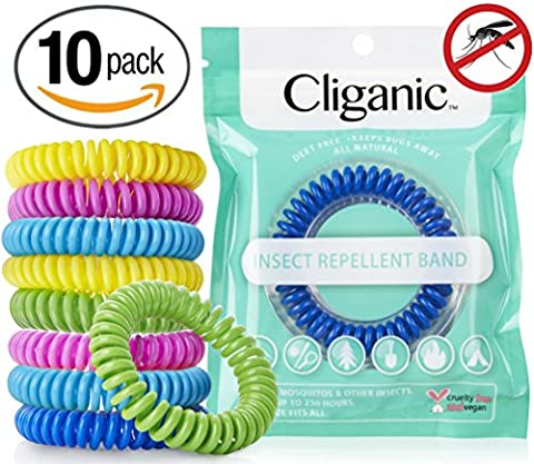 10 Pack Mosquito Repellent Bracelets, 100% Natural | Bug & Insect Protection, Waterproof DEET-FREE Band | Pest Control for Kids & (Mosquito Repellent Camping)