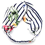 Peach & Pepper 3 PCS Floral Striped Twist Front Elastic Headband Headwrap Hairband Turban for Women Girls