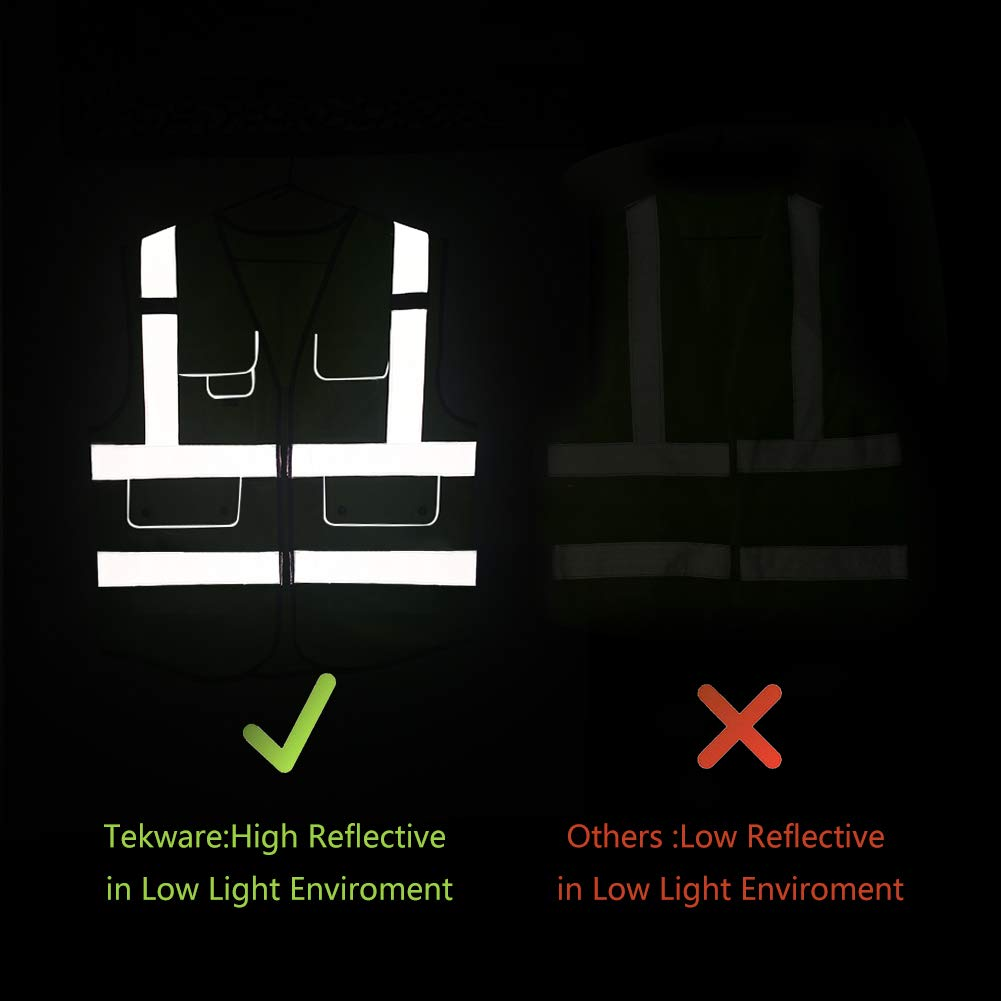 Tekware High Reflective and Breathable Safety Vest, Pack of 5 Bright Neon Color Construction Protector with Reflective Strips and Zipper with 6 Pockets by Tekware (Image #3)