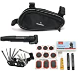 Roswheel Bicycle Bike Cycling Repair Tools Cycle Maintenance Kits Set with Pouch Pump, Black