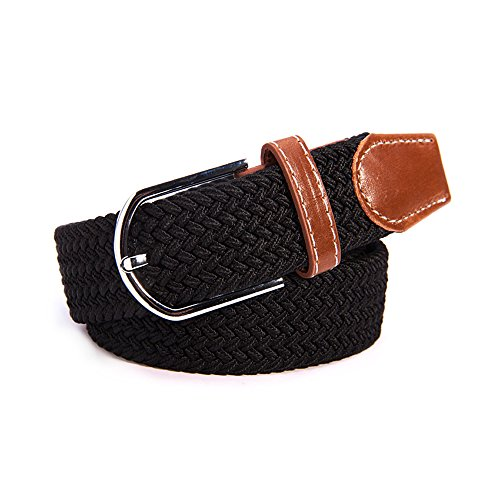 AStorePlus Cutest Braided Belts, Unisex Canvas Elastic Fabric Woven Stretch Multicolored Braided (Round Covered Buckle Belt)