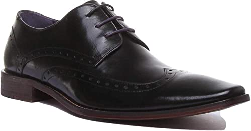 Justin Reece Alexander Mens Formal Leather Matt Shoes In Black Size UK 6-12