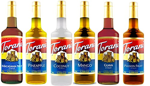 Torani Hawaiian Syrup Variety Pack of 6 - Macadamia Nut, Pineapple, Coconut, Mango, Guava & Passion Fruit (750 ml ea bottle) ()