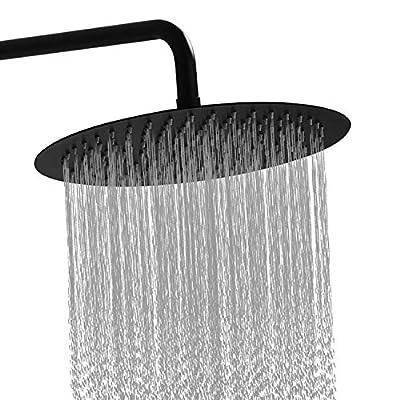 GGStudy Round 8 Inch Stainless Steel Shower Head Rain Style Shower Head Oil Rubbed Bronze (Black)