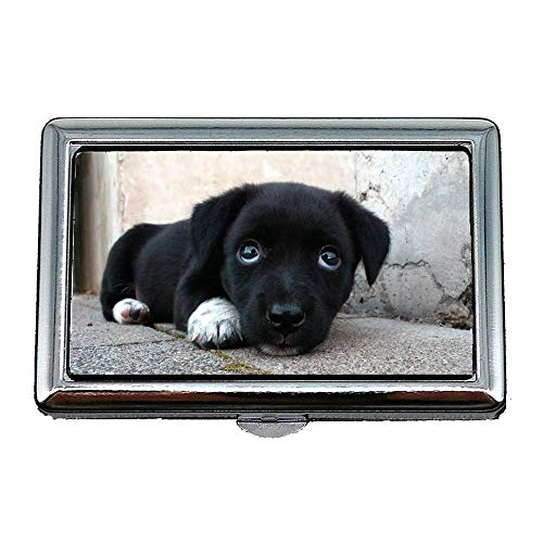 Cigarette Case Box,Dog Animal Tired Sleepy Cute Sweet Puppy Black,Business Card Holder Business Card Case Stainless ()
