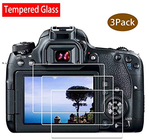 ULBTER 80D Screen Protector for Canon EOS 80D/77D/70D DSLR Camera,9H Hardness Ultra-Clear Tempered Glass Screen Protector, Anti-scrach Anti-Fingerprint Anti-Dust [3 Pack]