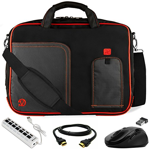 Laptop Messenger Bag 17.3 inch with Mouse, USB Hub, HDMI Cable for Dell Alienware m17, m17 R2, G3 G7 Gaming, Inspiron 17, Precision Workstation 17 inch Red Trim