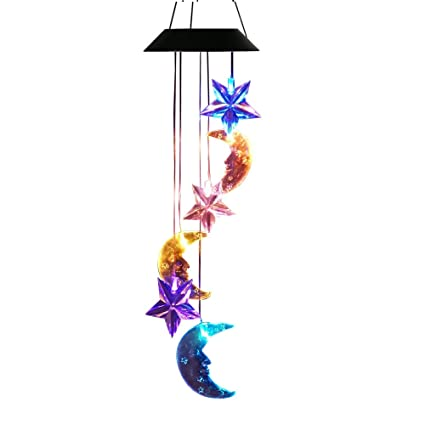 Outdoor Lighting Indoor Waterproof Energy Saving Hot Color Changing Wind Chime Solar Powered Led Light Moving Hanging Decorative Lamp