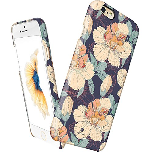 iPhone 6 case floral, Akna Vintage Obsession Series High Impact Slim Hard Case with Soft Fabric Interior for iPhone 6 [Retail Packing][Vintage Hibiscus Floral](U.S) (Vintage Phone For Iphone compare prices)