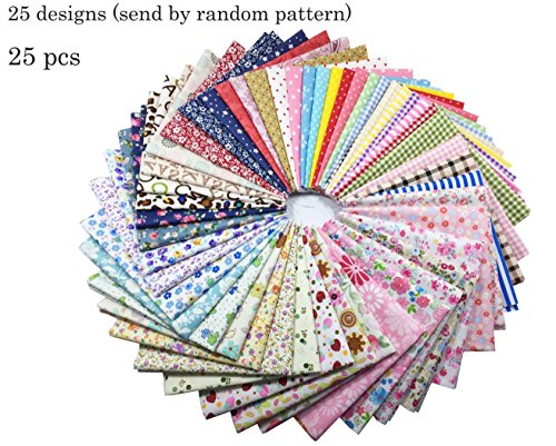 levylisa 25 PCS Assorted Flower Printed Cotton Squares Quilting Patchwork Fabric DIY Quarter Bundle patchwork Quilting Sewing Fabric Patchwork Flower Dots DIY quilting Handmade Craft 12 x 12 Inches