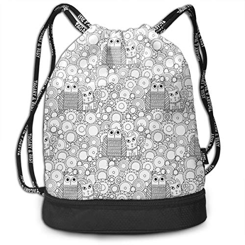 Outline Owl Pussy Cat Unisex Waterproof Drawstring Backpack Sports Dance Storage Bags Sackpack Gym Traveling Outdoor]()