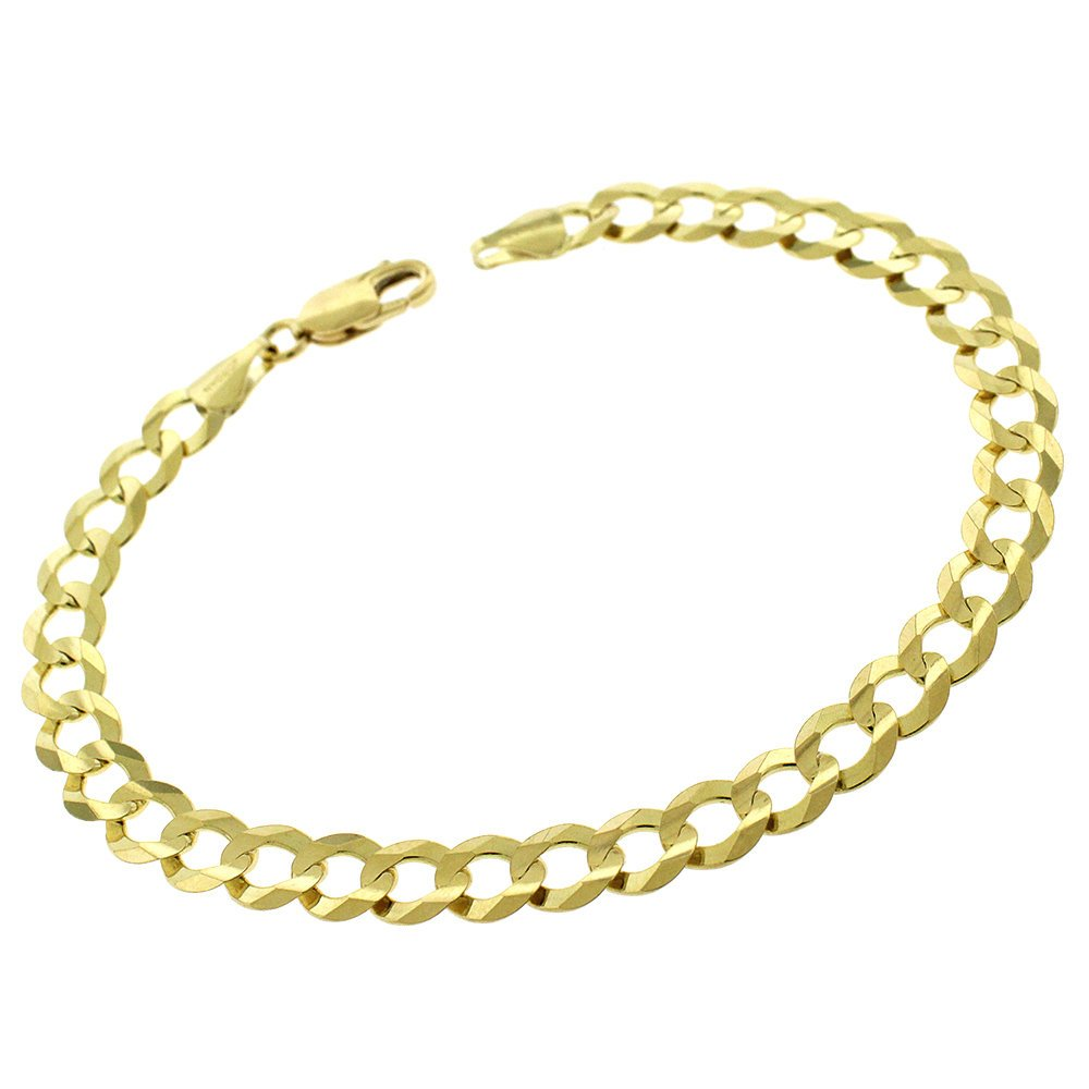 MCS Jewelry 14 Karat Yellow Gold Solid Classic Cuban Curb Link Bracelet Chain 8.5'' (8.5)