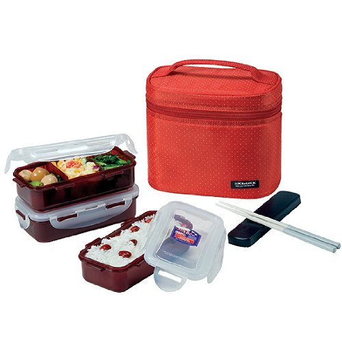 bento lunch box set airtight microwave dishwasher freezer safe 3 containers with spoon. Black Bedroom Furniture Sets. Home Design Ideas