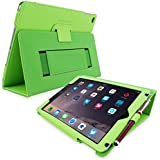 Snugg Apple iPad 3 & iPad 4 Case - Leather Smart Cover (Black) with Kick Stand